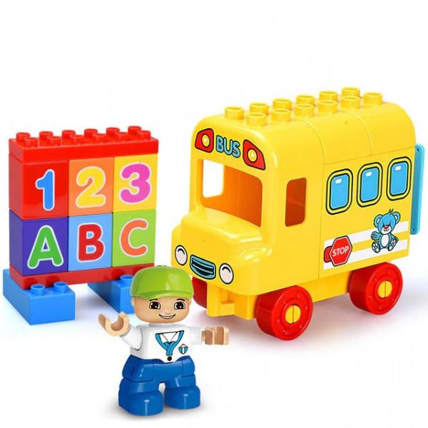 """Конструктор Gorock 1023 """"Мой первый школьный автобус"""" , аналог Duplo : 10603, количество деталей : 21"""