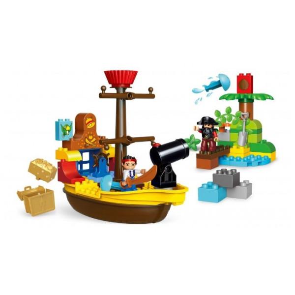 """Конструктор Gorock 1018 """"Пиратский корабль Джека пирата"""", количество деталей : 63, аналог Lego Duplo 10514"""